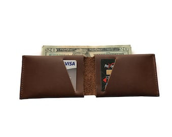 Chocolate Brown Leather Slit Wallet Coin Money Purse For Men & Women - Accessories Collection