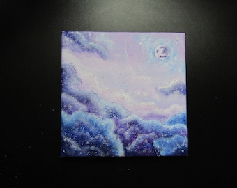 Acrylic Moon Sky (Original Painting. With glitter)