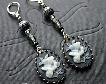 Black and White Butterfly Cameo Earrings - Steampunk, Belly Dance, Renaissance Festival, Victorian, Crystal, Glass Pearl