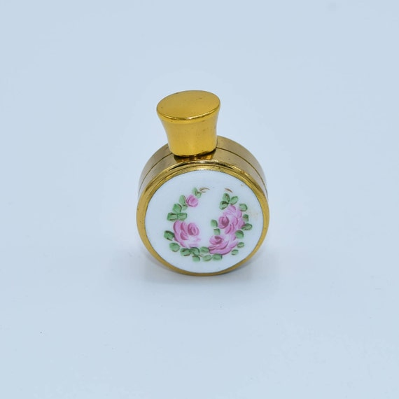 Gold Mini Perfume Bottle Vintage Hand Painted Porcelain Insert Pink Roses Purse Size Bottle Refillable Perfume Flask Screw Top Lid