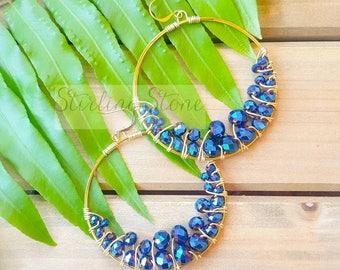 Crystal Cluster Earrings, crystal earrings, cluster earrings, hoop earrings, statement earrings, statement jewelry, gold, blue earrings