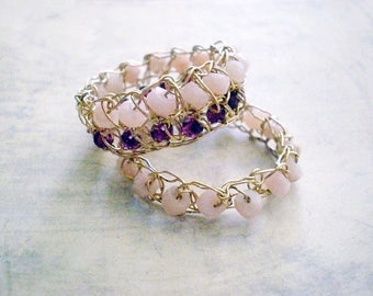 Crochet gold filled ring, Crochet lace gold wire rings- size 7.5, Ready to ship