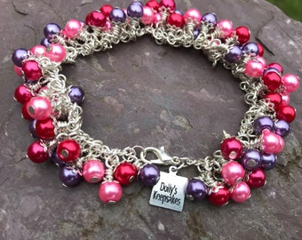 """Pansy, A 7.5"""" Cluster Bracelet"""