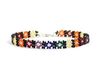Rainbow Daisy Chain Anklet - Bead Ankle Bracelet - Seed Bead Jewelry - Beaded Anklet - Beadwork Summer Jewelry - Beach Anklet