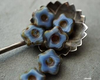 Lit'l Blue Flowers, Czech Beads, D60