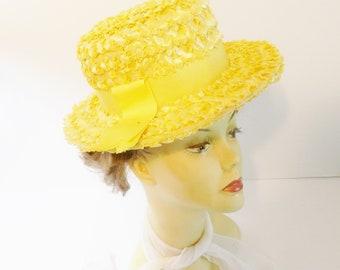 Vintage  Raffia Yellow Straw Hat- USA Union Made- Sunny Yellow Hat
