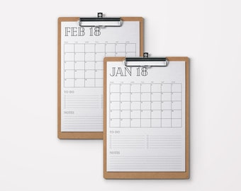 Printable Calendar 2018 | To-Do List | Notes | Retro Font | 2018 Desk Calendar, A4