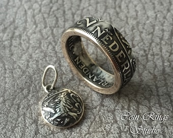 Dutch Silver Coin Ring + Pendant - Netherlands 2 1/2 Gulden - Netherland  - Holland - Guilder Set - Queen Juliana - for men - for women