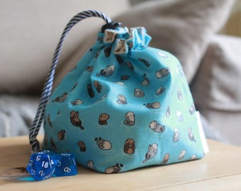 Otters Drawstring Dice Bag | Game Bag | RPG Bag - For Tabletop Gamers, Roleplayers, Dungeons and Dragons, Scrabble tiles, Carcassonne & more