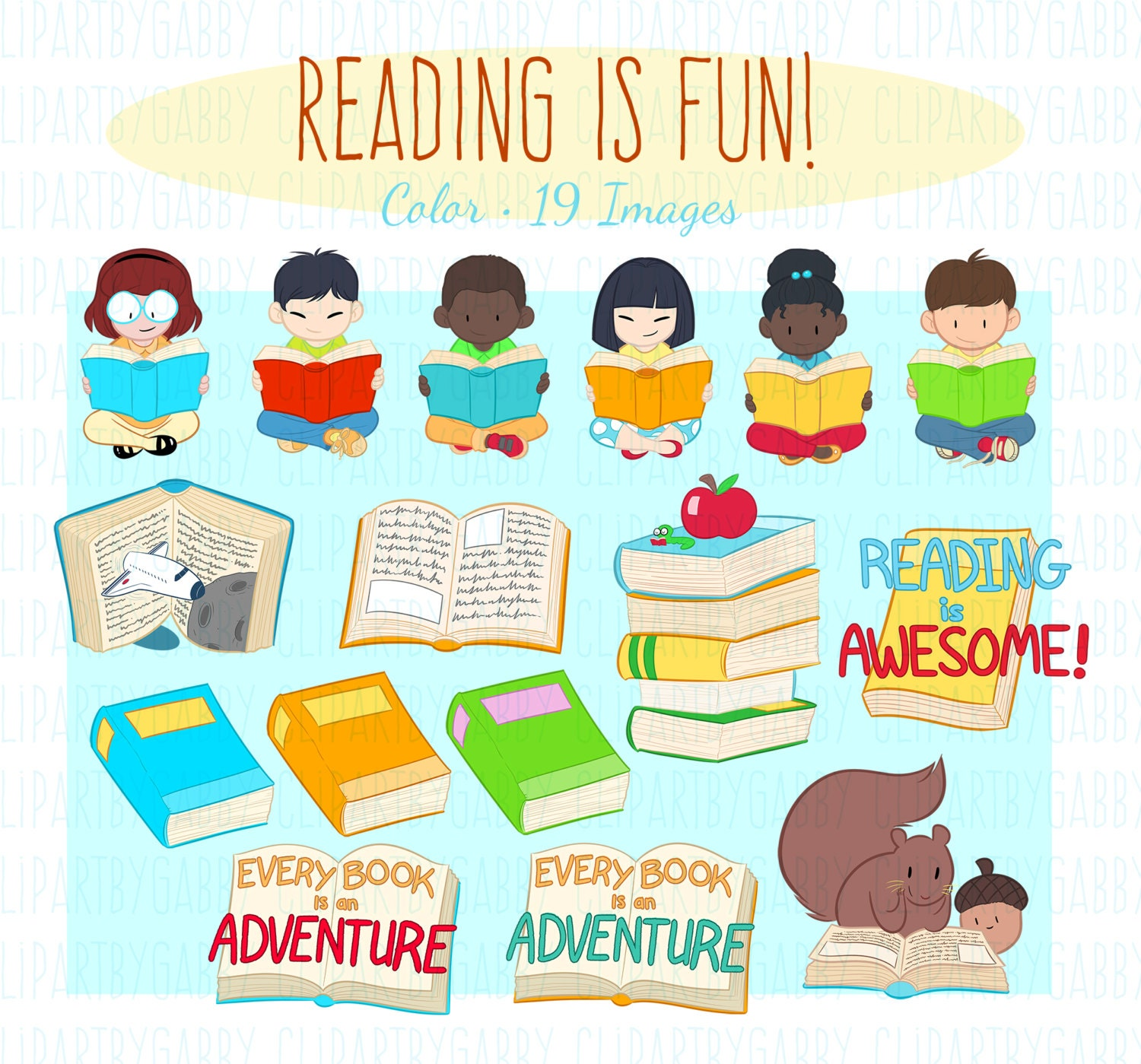 School Reading and Books Clipart Clip art
