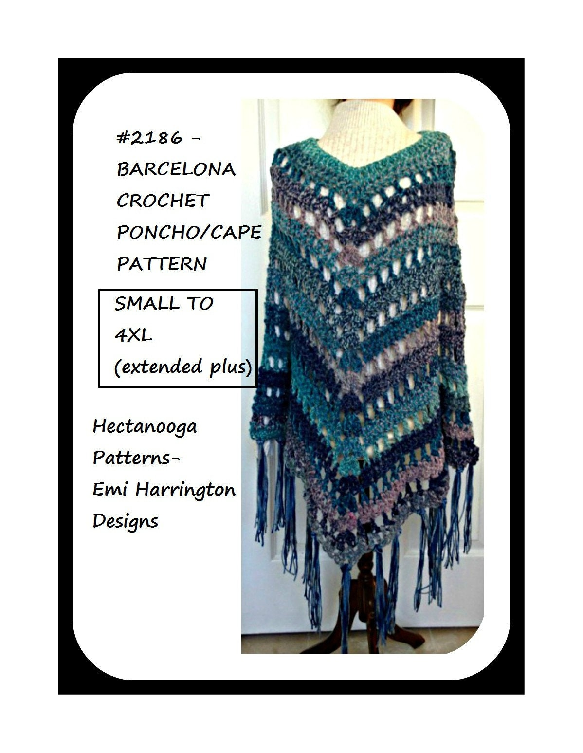 CROCHET PONCHO CAPE Pattern All sizes from small to 4XL