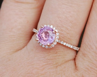 Rose Gold Engagement Ring 1.53ct round Peach Champagne Sapphire Ring 14k Rose Gold. Engagement ring by Eidelprecious