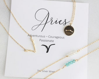 Aries, Zodiac Necklace, April Birthday Gifts for her, Celestial Jewelry, Constellation, Zodiac Jewelry, Gift for Aries, Inspirational Gift