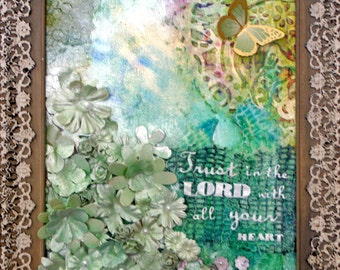 Trust in the Lord Handpainted Mixed Media Painting Art 9X12 Framed Shabby Chic