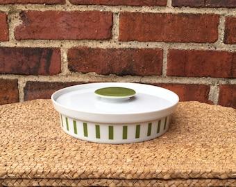 Vintage LaGardo Tackett Schmid Green White Stripe Lidded Casserole, Serving or Candy Dish -  Mid Century