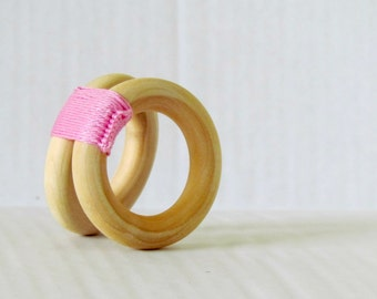 Wooden toy - Baby teether , Blush