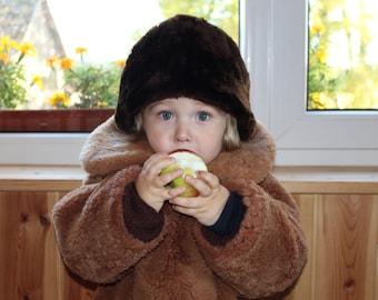 Kids fur hat Soviet vintage kids fur hat Kids cheepskin hat Vintage kids cheepskin hat Kids cheep fur hat Retro kids winter hat Real fur