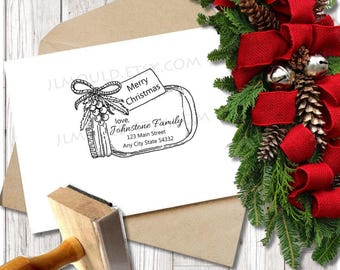 Custom Rubber Stamp Christmas Holiday Return Address Modern Address Stamp Personalized Address Stamp JLMould Cards Mason Jar Holiday Gift