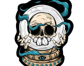 "Crystal Ball Skull Sticker - 4"" x 5"" Large Sticker - By Manic Lawd"