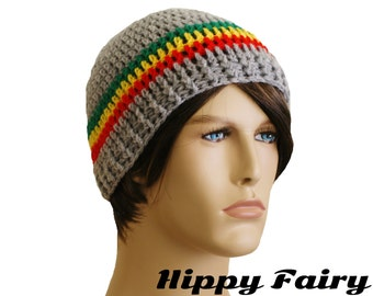Rasta and grey Mens fitted beanie,
