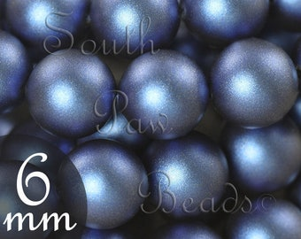 6mm Iridescent Dark Blue Swarovski pearl bead style 5810 round glass crystal pearl (25)