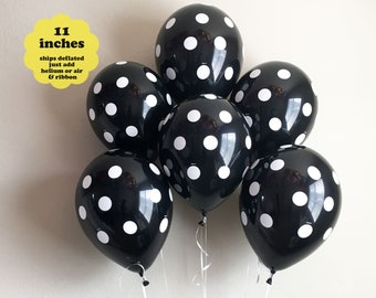 "Black White Balloons - 6 pack 11"" Latex – Black Balloons Bridal Shower Graduation Decorations Bachelorette Party Black Baby Shower Polka Dot"