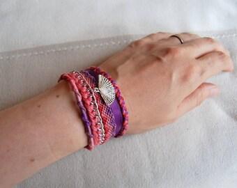 Cuff Brazilian purple pink fantasy range Brasilda charm multi strand bracelet