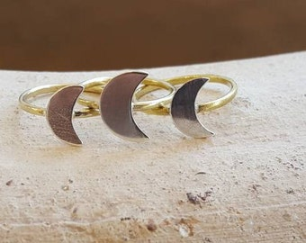 Handmade Brass and Sterling Silver Crescent Moon Ring Moon Phase Ring Delicate Boho Ring Witchy Magick