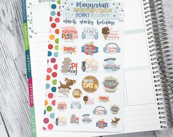 DP53 || MARCH WACKY HOLIDAYS Planner Stickers - PlannerKate & DorkyDoodles (Removable Matte Stickers)