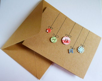 Homemade Christmas card - baubles - envelope included