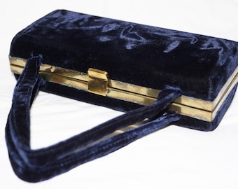 1950s Velvet Evening Box Purse Navy Blue Gold