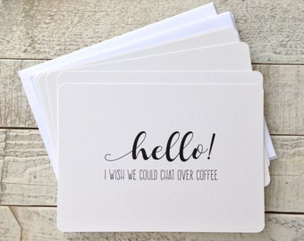 """Set of Five, 5""""x7"""" Flat Note Cards, Coffee and Friends, Thinking of You, Coffee Note Cards, Blank Greeting Cards, Cards With Envelopes"""