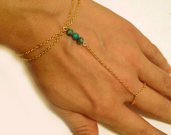 Jasper Turquoise Hand Chain - Turquoise Slave Bracelet
