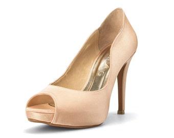 Champagne Gold Wedding Heels, Gold Satin Bridal Peep Toe Heels,Satin Wedding Heels, Champagne High Heel Satin Evening Shoes