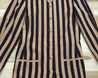 Gold and Black Striped Long Blazer with Jewel Neck