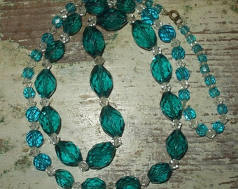 Vintage Blue Sea Turquoise Glass Crystal Bead Necklace heavy