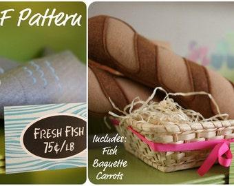 DIY Felt Food Tutorial- Fish- Baguette- Carrot Pattern and Instructions