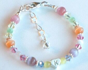 Sterling Silver Heart Initial Multi Colour Cat Eye and Swarovski Crystal Children Bracelet, Cat Eye Bracelet, Multi color Bracelet, Flower