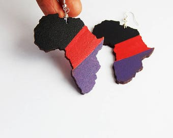 Africa Earrings  Africa Shape Map Motherland Jewelry Black Red Purple