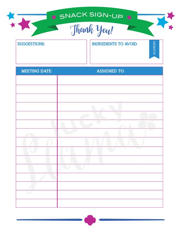 printable girl scout snack sign