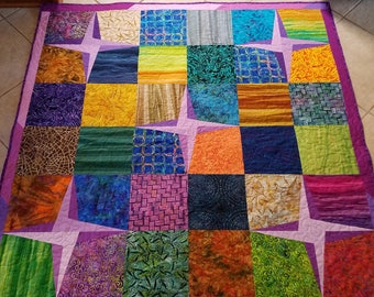 Purple Rising Star Quilted Lap Quilt
