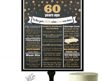 60th Birthday Chalkboard Sign, 1958 60th Birthday, Personalized 60th Birthday Party, 60 Birthday Decorations, 60 Years, Milestone Birthday