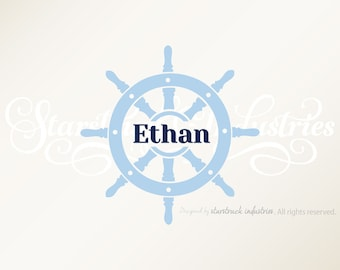 Personalized Nautical Wall Decal | Custom Ship Wheel Wall Decal | Custom Nautical Wall Decal | Nautical Themed Baby Shower Gift Idea 23""