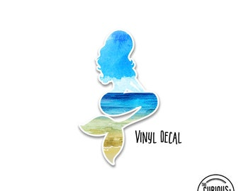 Mermaid Vinyl Window Decal Watercolor Beach Scene - Use on Cars, Electronics, Mirrors or More! Indoor or Outdoor Use