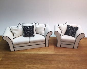 "1"" Scale Miniature Black & White Sofa and Chair"