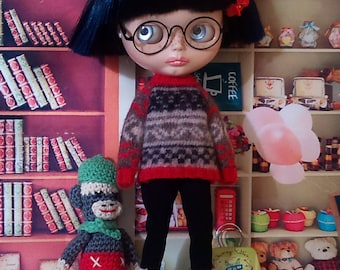 Nordic sweater and black pants for Blythe or Pullip