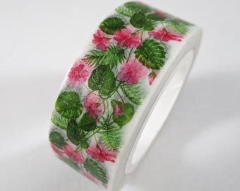 """SALE Exclusive Print From 808-Tape, Hawaiian Style Washi Tape """"Pink Hibiscus"""" 15mm x 10 Meters"""