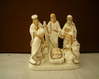 vintage nativity scene-Christmas decor-mantel decor-Jesus in the manger-table top decor-