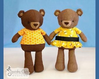 Teddy Bear Sewing Pattern PDF - Bear Stuffed Animal Doll - Plushie Pattern - Buzz and Bea Bear Dolls