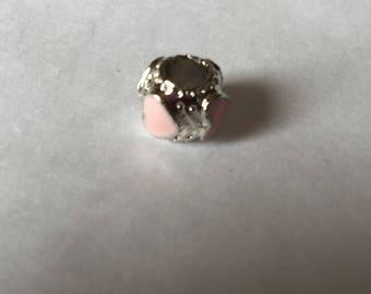 Pearl 4 pink enamel hearts